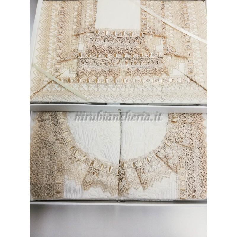 Completo lenzuola  CULLA o LETTINO con passanastro e macramè MADE IN ITALY