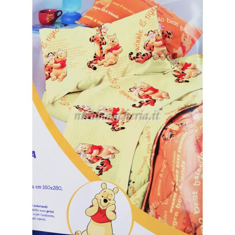Completo lenzuola Winnie the Pooh Disney Caleffi in puro cotone per letto singolo. B243