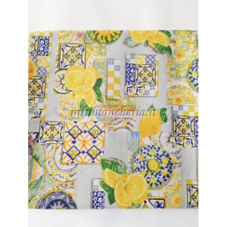 Scampolo di tessuto di cotone Loneta a fantasia Limone Sorrento 280x280 cm. B538
