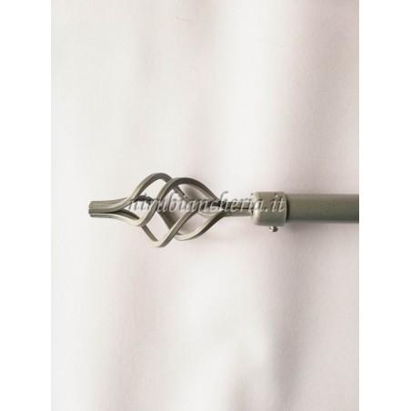 Bastone per tenda in ferro battuto di colore argento 120 cm estensibile 210 cm. B802