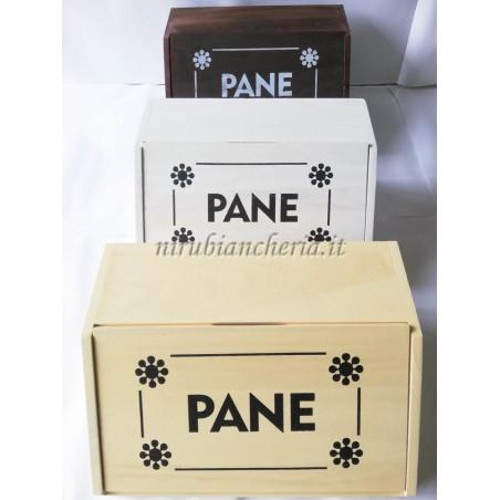 """Portapane in legno moderno con scritta nell'apertura """"Pane"""". B721"""